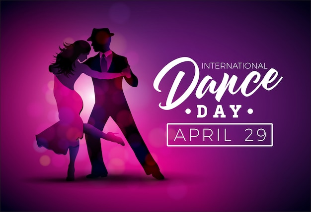 International dance day vector illustration with tango dancing couple on purple background Premium Vector