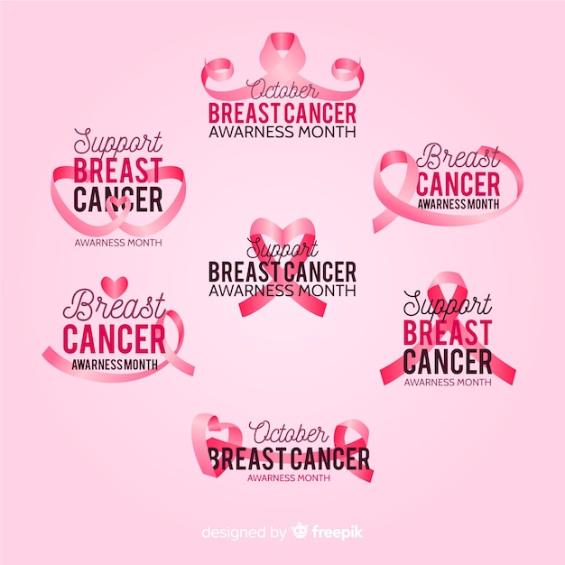 International day of breast cancer awareness badge collection Free Vector
