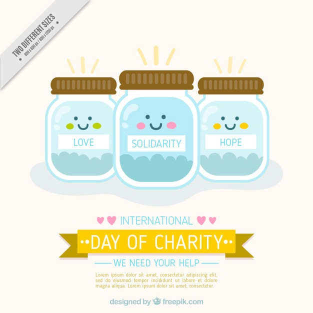 International day of charity background with lovely  money jars Free Vector