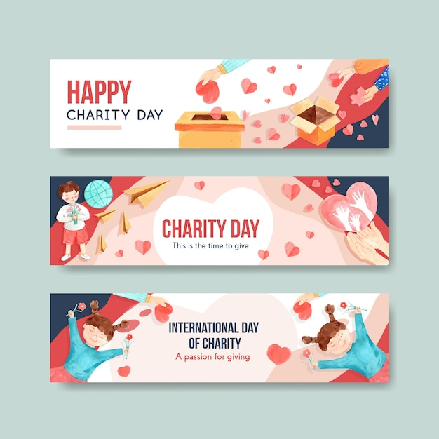 International day of charity banner concept design with advertise watercolor vector. Free Vector