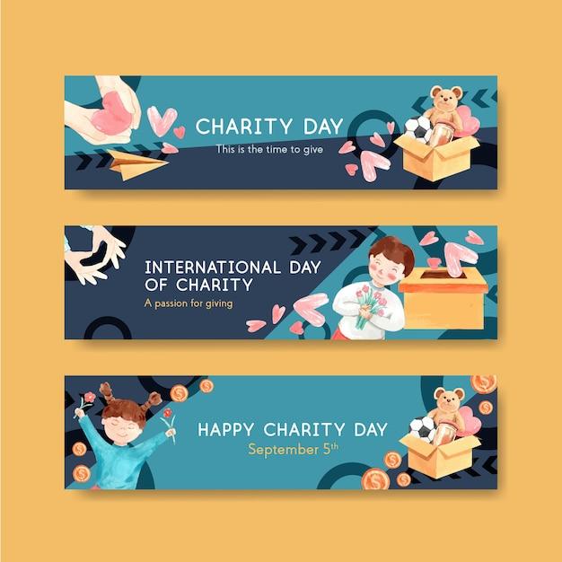 International day of charity banner concept design con pubblicità acquerello. Vettore gratuito