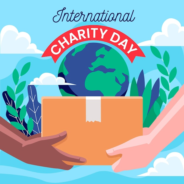 International day of charity flat design background Free Vector