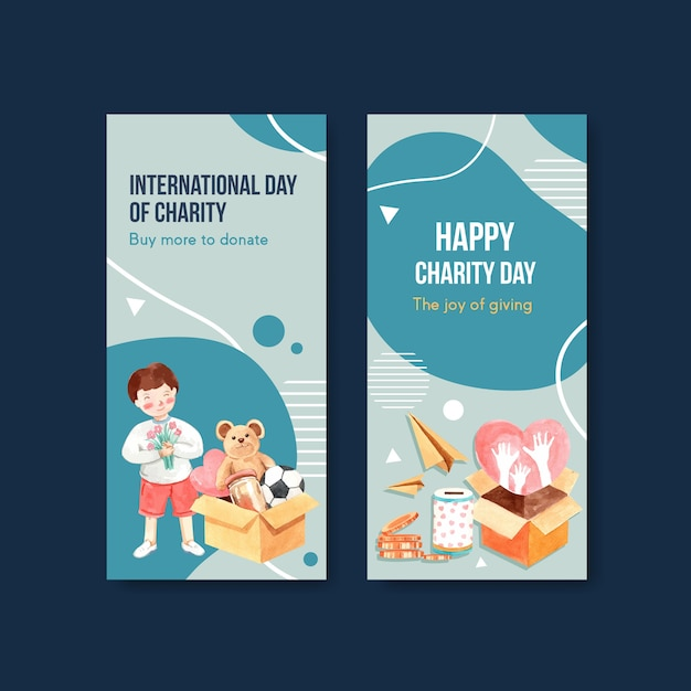 International day of charity flyer concept design con brochure e volantini acquerello vettoriale. Vettore gratuito