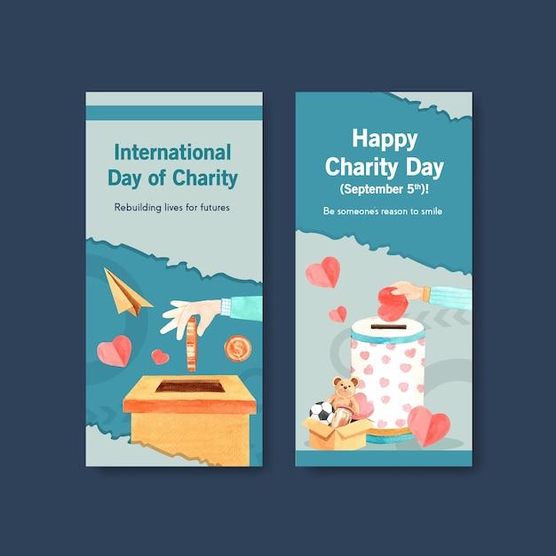 International day of charity flyer concept design con brochure e volantini acquerello vettoriale. Vettore gratuito