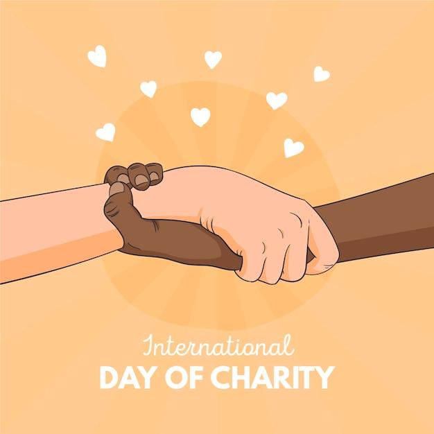 Giornata internazionale della beneficenza sfondo disegnato a mano con le mani Vettore gratuito