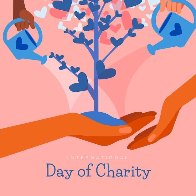 Giorno internazionale di fondo disegnato a mano di carità con l'albero Vettore gratuito