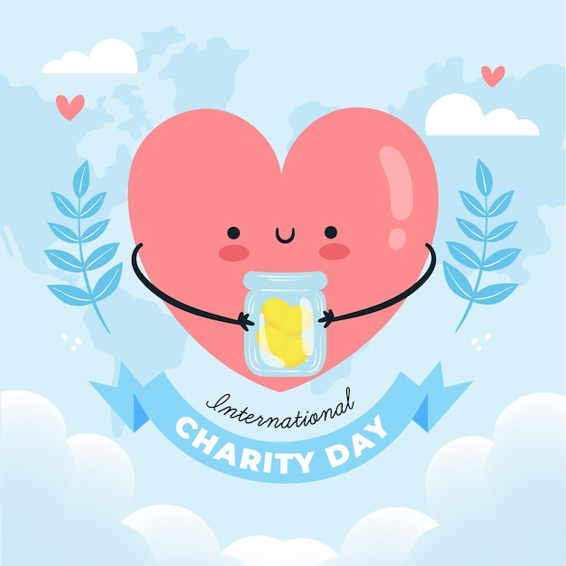 International day of charity hand-drawn Free Vector