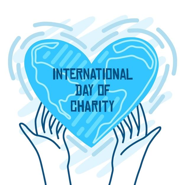 Giornata internazionale delle mani di beneficenza che tengono un cuore Vettore gratuito