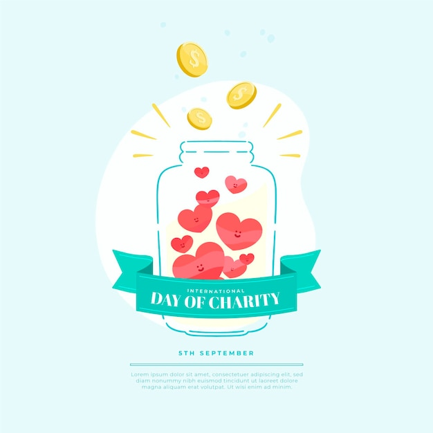 International day of charity jar of money and love Free Vector