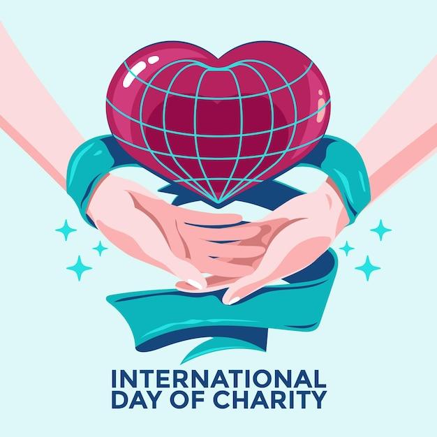 Giornata internazionale della carità con mani e cuore Vettore gratuito