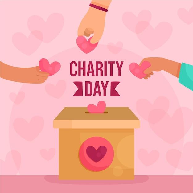 Giornata internazionale della carità con mani e cuori Vettore gratuito