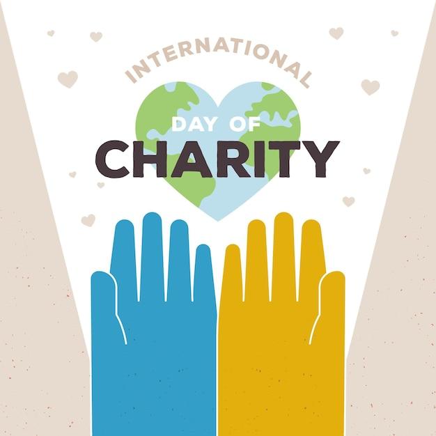 Giornata internazionale della carità con mani e pianeta Vettore gratuito