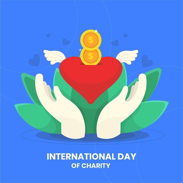 Giornata internazionale della carità con cuore e mani Vettore gratuito