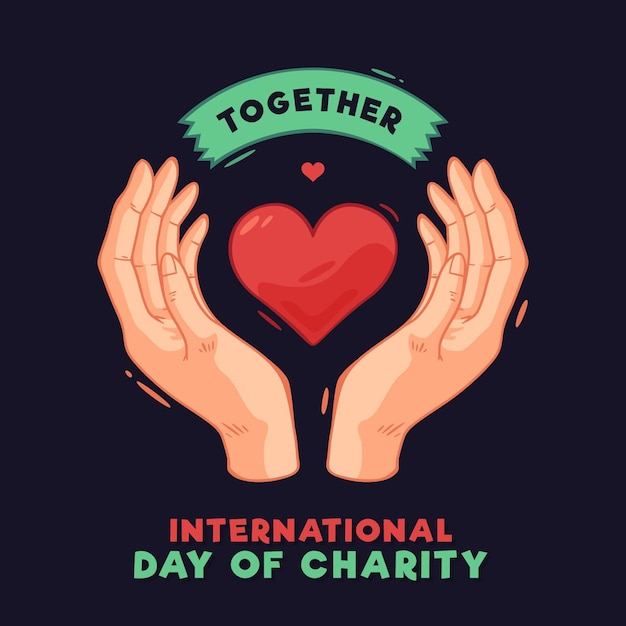 International day of charity with heart and hands Free Vector