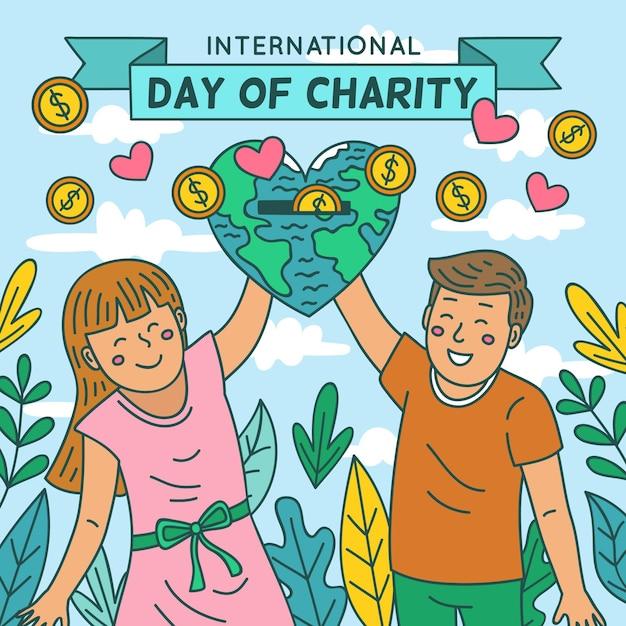 Giornata internazionale di beneficenza con persone e pianeta Vettore gratuito