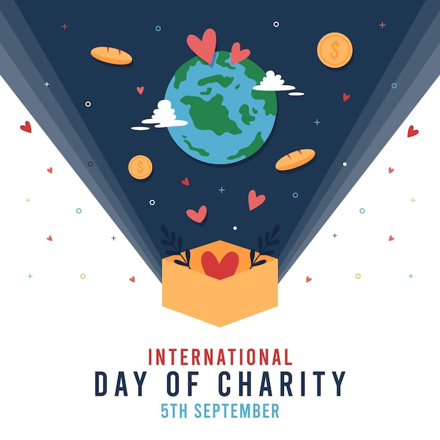 International day of charity with planet and coins Free Vector