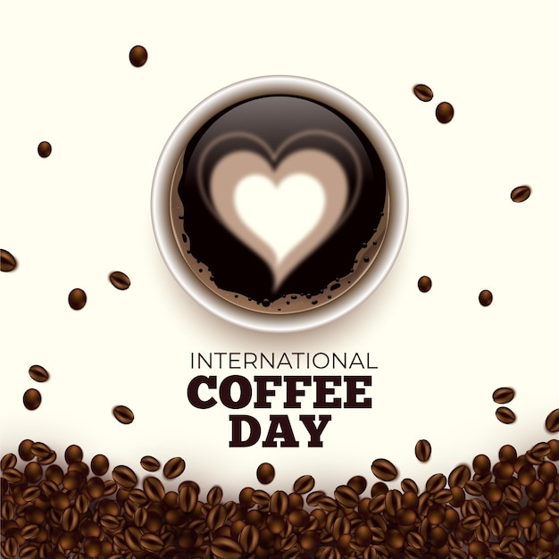 International day of coffee hearts in beverage Free Vector