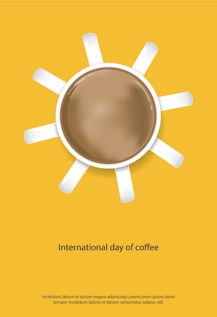 International day of coffee poster vector illustration Free Vector
