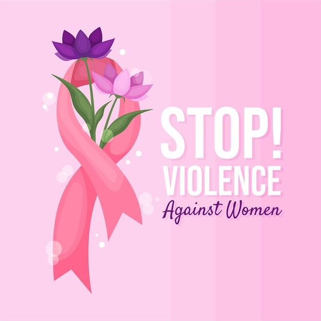 International day for the elimination of violence against women awareness ribbon with flowers Premium Vector