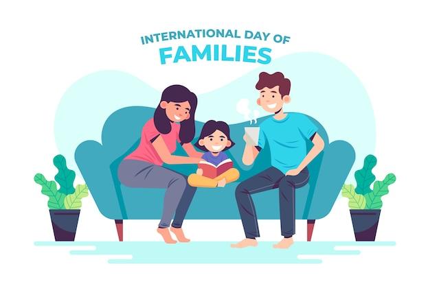 International day of families in flat design Premium Vector
