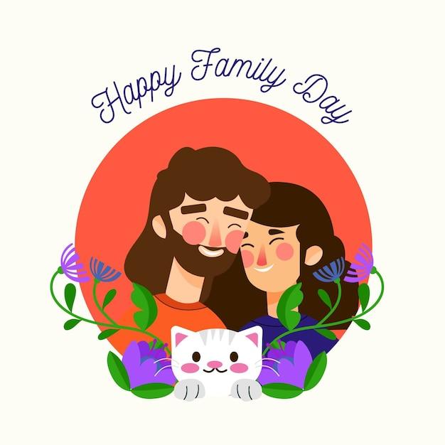 Illustrata la giornata internazionale delle famiglie Vettore gratuito