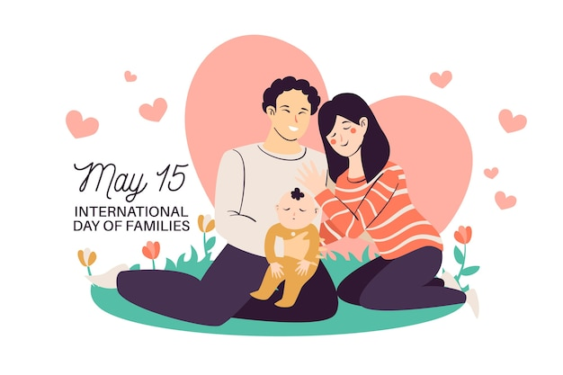 International day of families with parents and baby Free Vector
