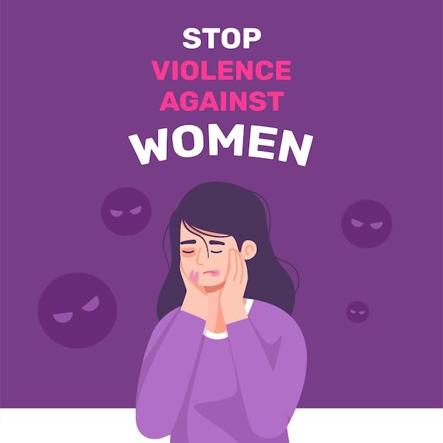 Международный день борьбы с насилием в отношении женщин на фоне девушки Бесплатные векторы