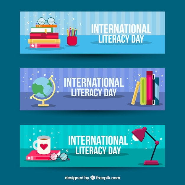 International day of literacy banners in flat design Free Vector
