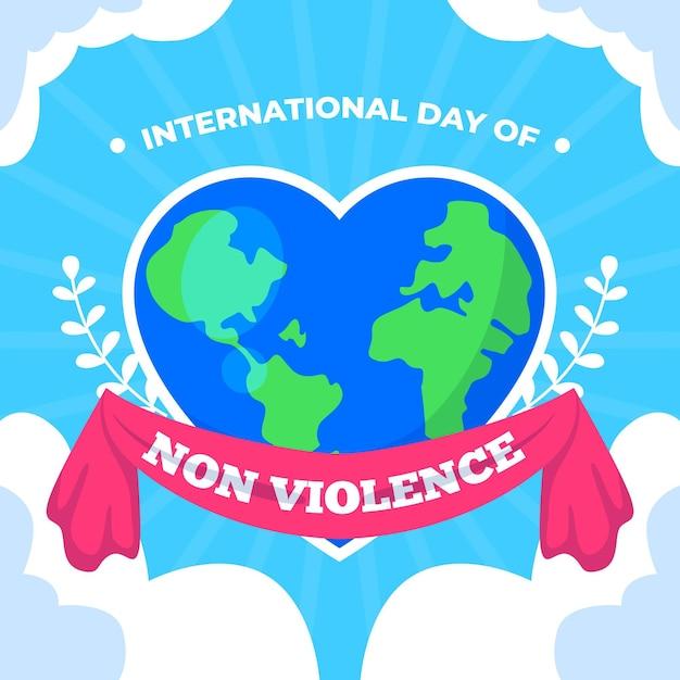 Giornata internazionale della non violenza con la terra a forma di cuore Vettore gratuito