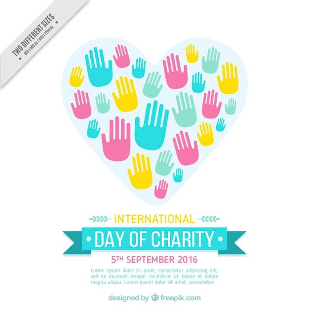 international day of charity with colorful hands vector