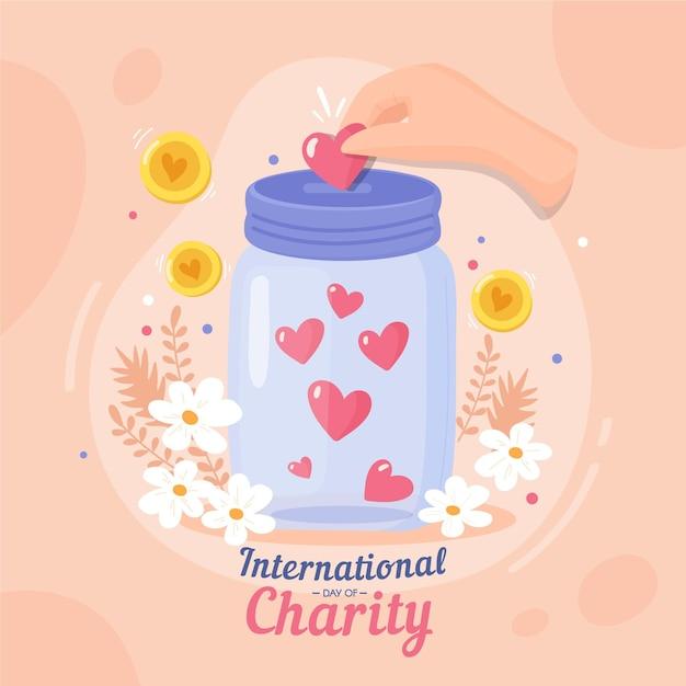 Международный день благотворительности Бесплатные векторы