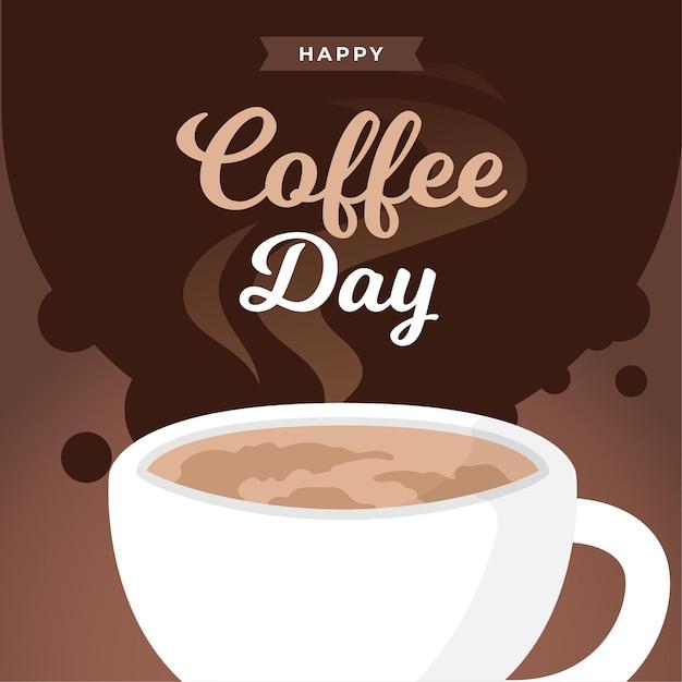국제 커피 플랫 디자인 배경의 날 무료 벡터