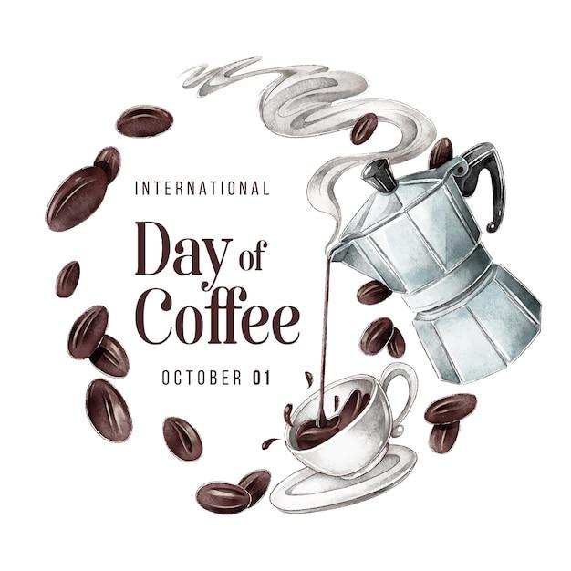 Международный день кофе Бесплатные векторы