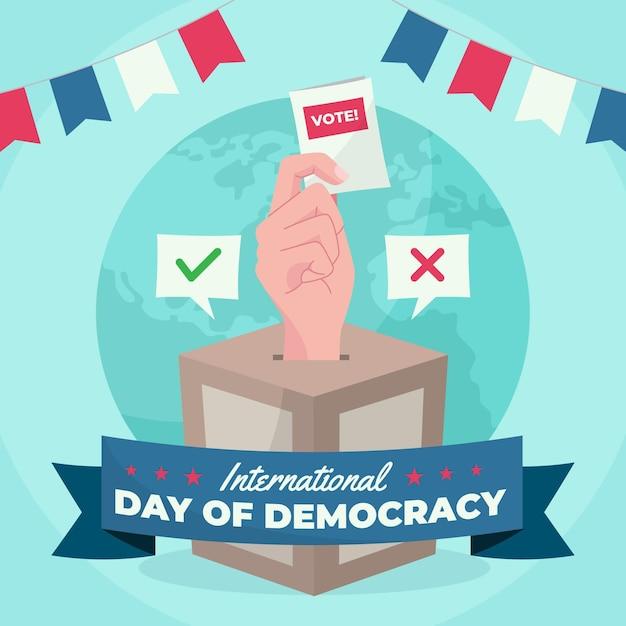 国際民主主義の日コンセプト 無料ベクター