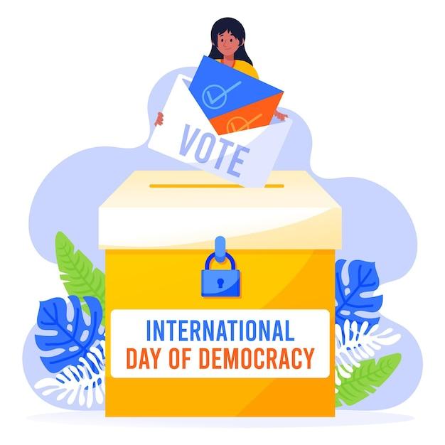 Международный день демократии иллюстрации Бесплатные векторы