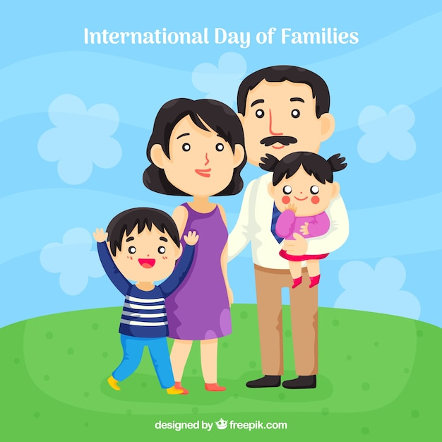 International day of families background in\ hand drawn style