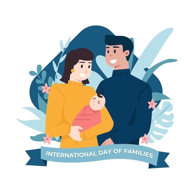 赤ちゃんを持つ親の家族のイラストの国際デー 無料ベクター