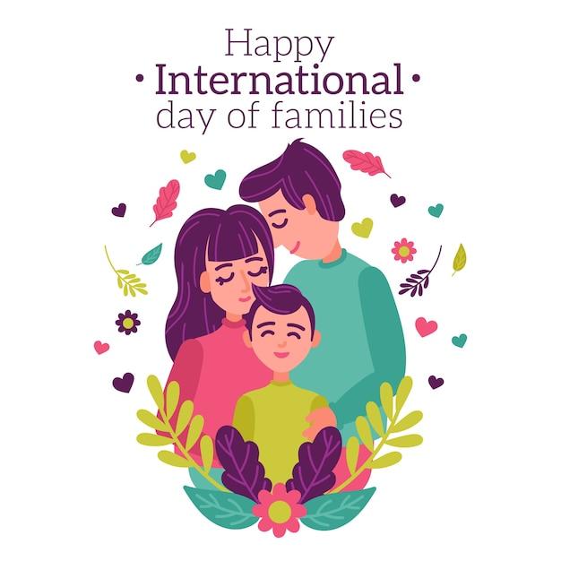 평면 디자인의 국제 가족의 날 무료 벡터