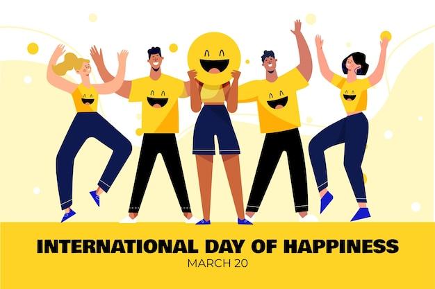 사람과 그림 이모티콘이있는 국제 행복의 날 무료 벡터