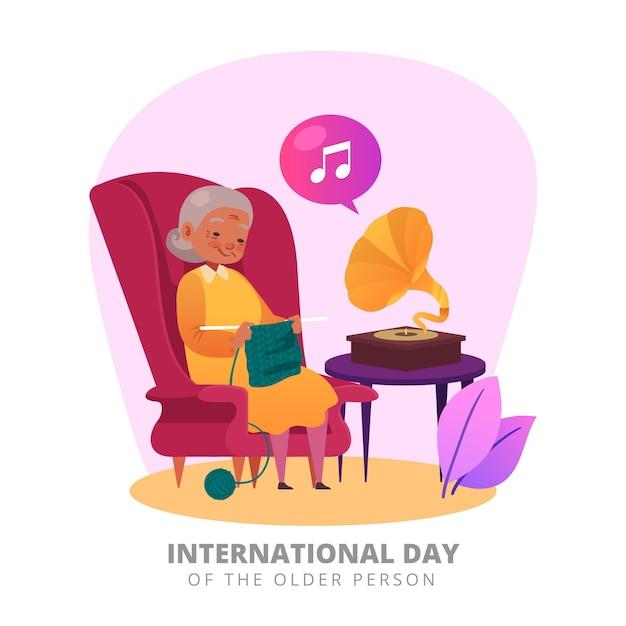 Концепция международного дня пожилых людей Бесплатные векторы