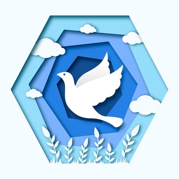 Международный день мира фон в бумажном стиле Бесплатные векторы