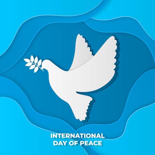紙のスタイルで平和鳥の国際デー 無料ベクター