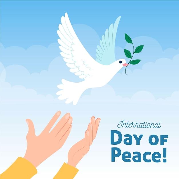 Международный день мира рисованной Бесплатные векторы