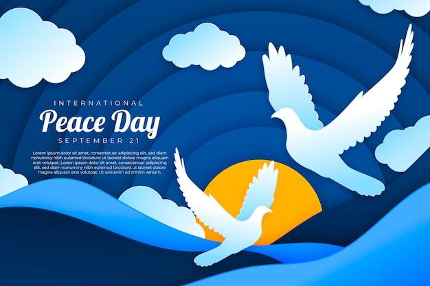 紙のスタイルで国際平和の日 無料ベクター