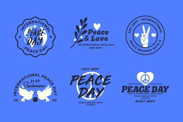 国際平和デーのラベルセット 無料ベクター