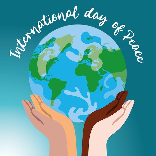 世界を持ち上げる異人種間の手による国際平和デーのレタリング Premiumベクター