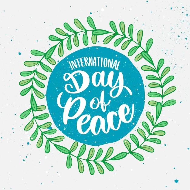 国際平和レタリングデー 無料ベクター