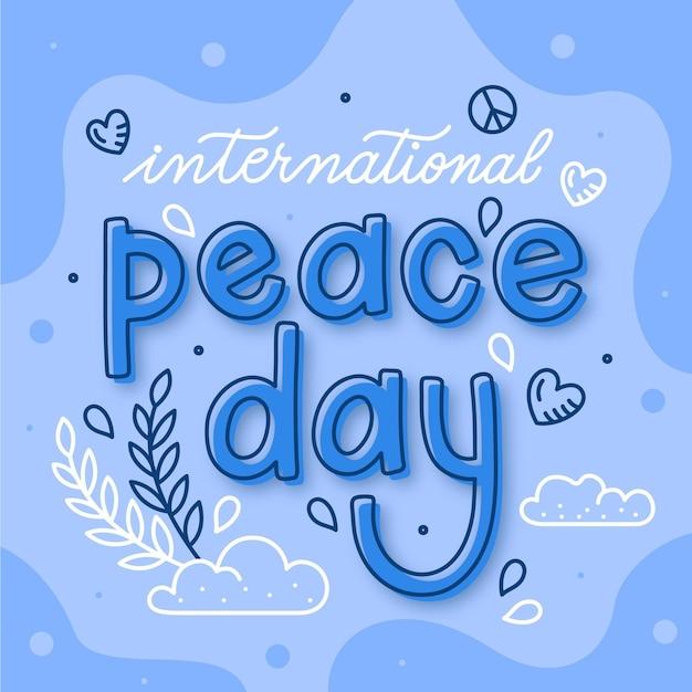 Международный день мира надписи Бесплатные векторы