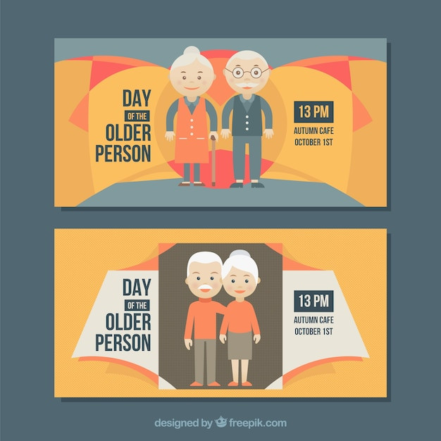 International day of the older persons abstract\ banners