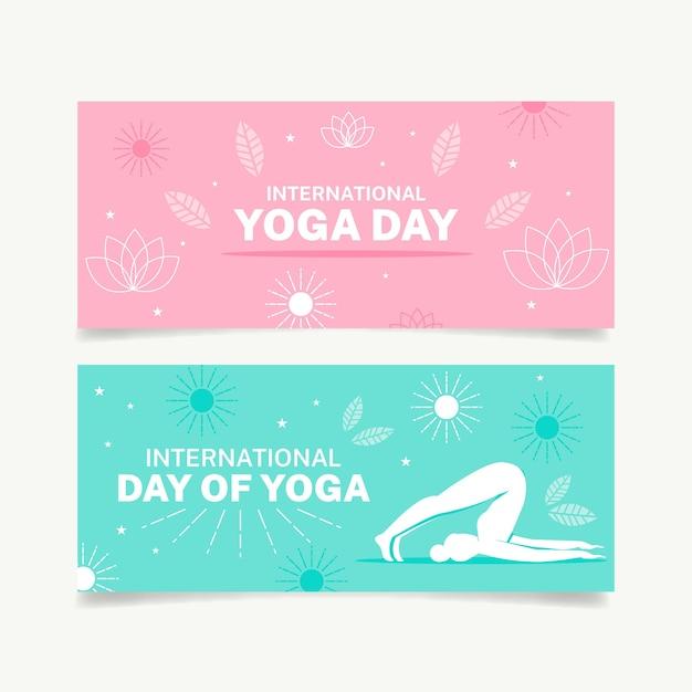 Международный день коллекции баннеров йоги Бесплатные векторы